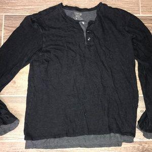 Men's VINCE Two Ply Black Henley Shirt M